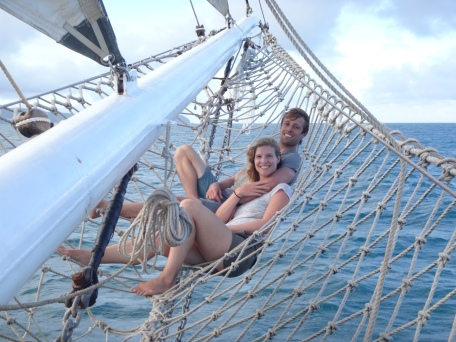 Relaxing and enjoying the head wind while sailing between islands in the Solway Lass