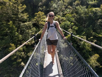 Crossing one of the longest hanging bridges along the track