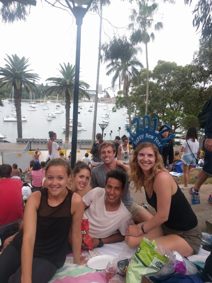 Waiting for New Year's fireworks with Kayla, Aleks and Sam, our friends from our New Zealand with Stray