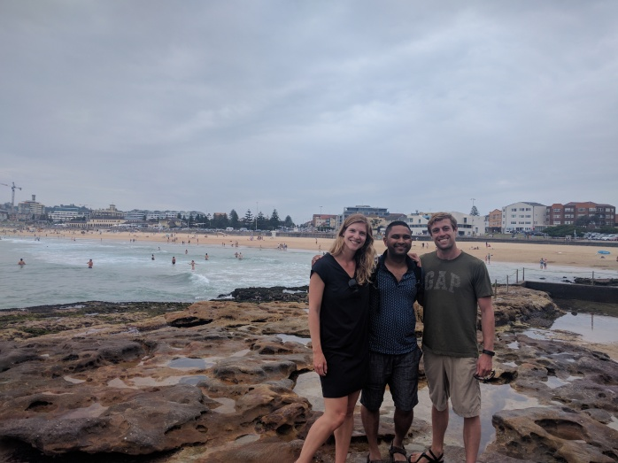 Hanging out with Sagar in Bondi, our friend from our New Zealand adventures with Stray