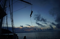 Climbing the swing rope in the Solway Lass