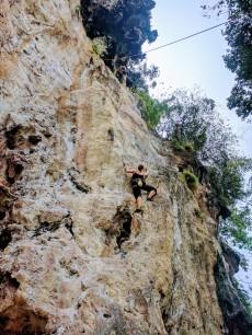 Ashley climbing 123 Wall, a 30 meter climb